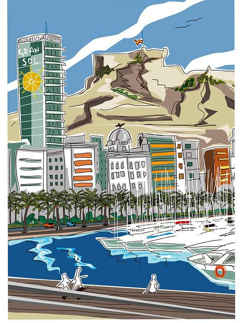 Bahía de Alicante. Ilustración Digital 50x70cm