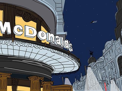 Mc Donalds tonight. Madrid. Ilustración Digital 70x50cm