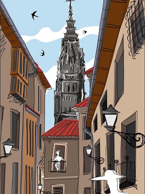 Toledo calle de día. Ilustración Digital 50x70cm