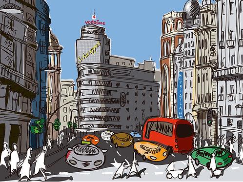 Gran Vía . Madrid . Ilustración Digital 50x70cm