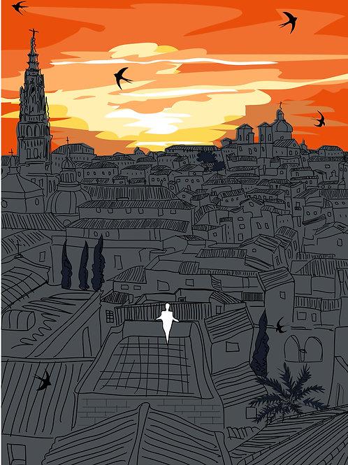 Toledo atardece. Ilustración Digital 50x70cm