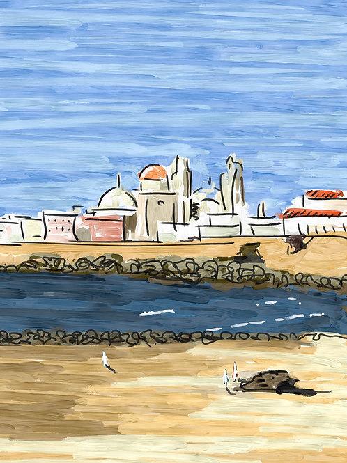 Bahía de Cádiz. Ilustración Digital 50x70cm