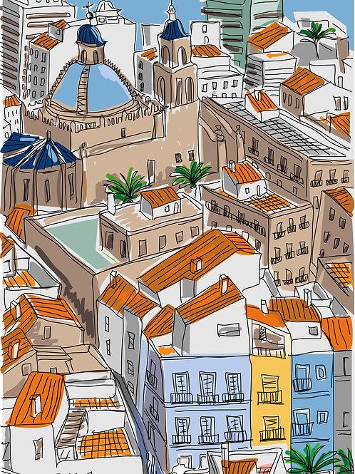 El Barrio. Alicante. Ilustración Digital 50x70cm