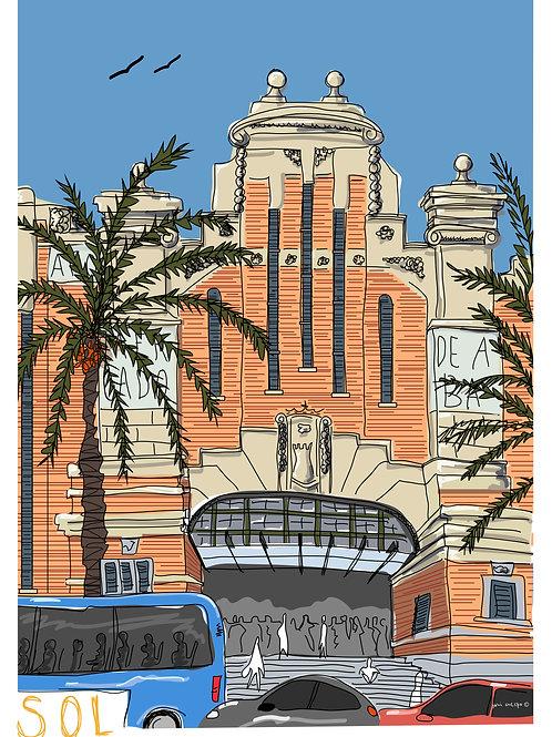Mercado Central de Alicante. Ilustración Digital 50x70 cm