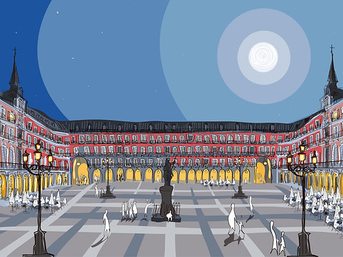 Plaza Mayor de Madrid. Ilustración Digital 50x70cm