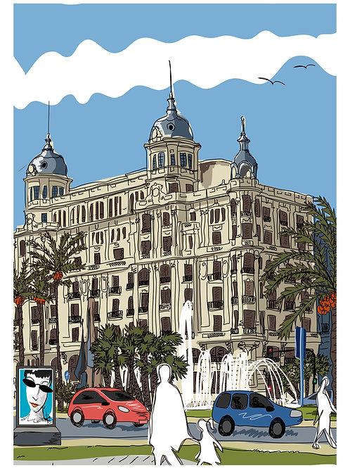 Plaza del Mar. Alicante. Ilustración Digital 50x70cm