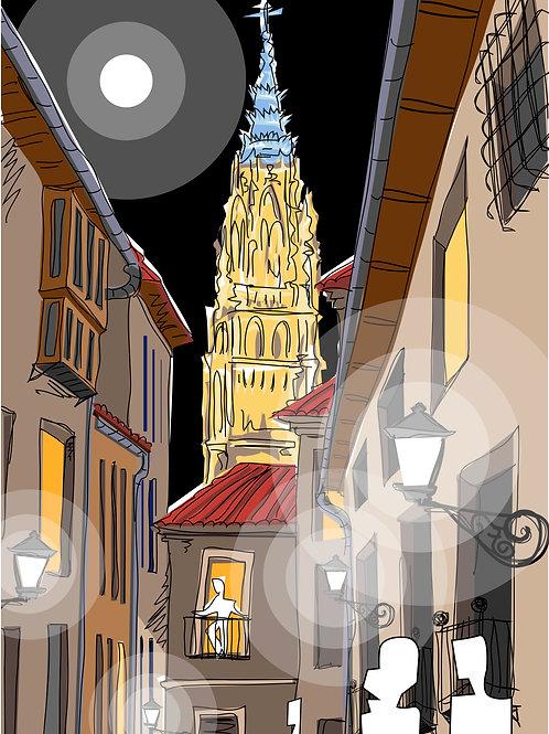 Toledo , calle de noche. Ilustración Digital 50x70cm