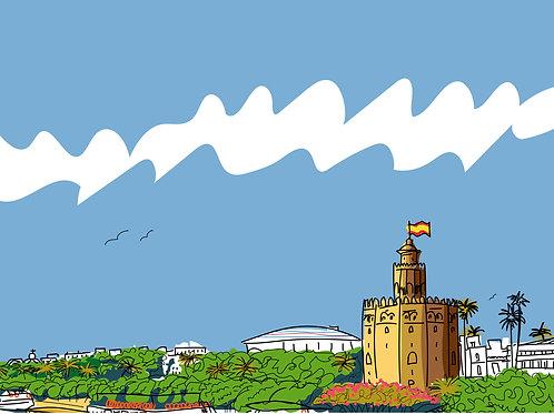 Torre del Oro. Sevilla. Ilustración digital 70x50cm
