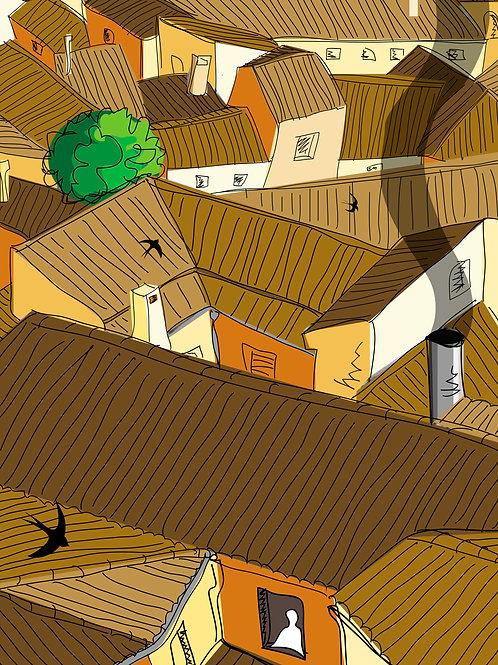 Tejados de Toledo. Ilustración Digital 50x70cm