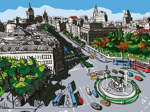 Plaza de Cibeles. Madrid. Ilustración Digital 70x50cm