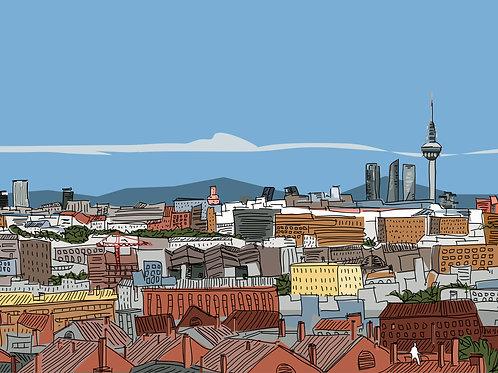 Skyline Madrid. Ilustración Digital 70x50cm