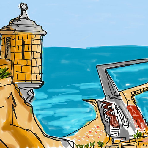 Mediterráneo y Castillo. Ilustración digital 50x50cm