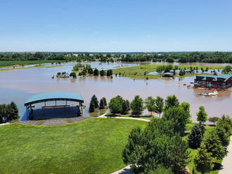 Overview of the flooding at the marina and Cope Amphitheater.