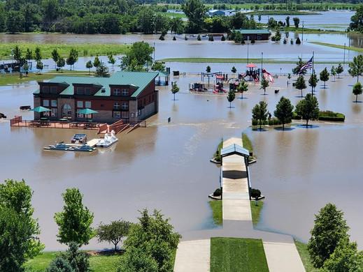 Flooding at the Swann Shoppe Marina.