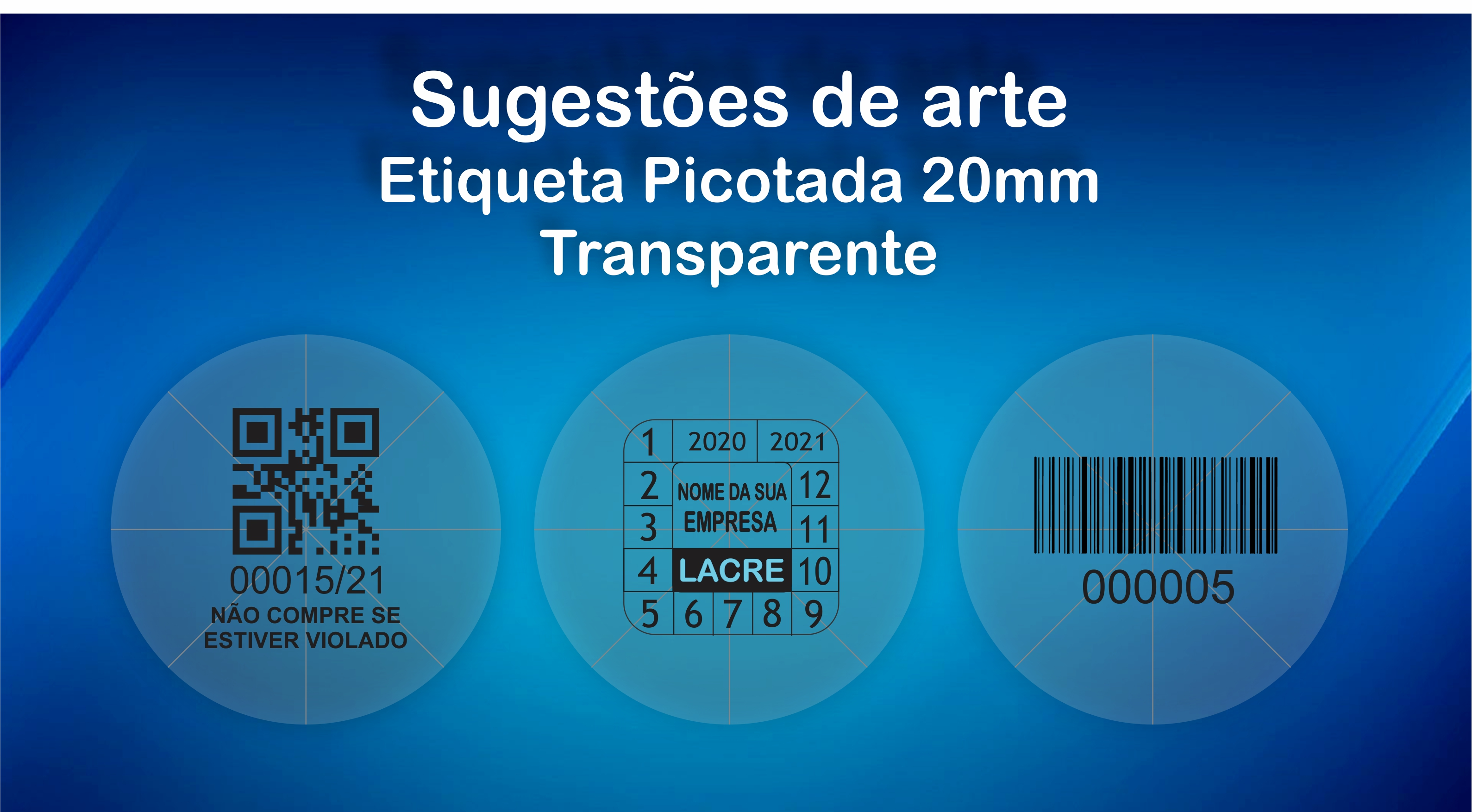 etiqueta transparente redonda