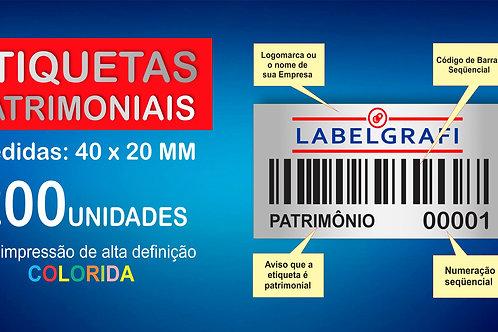 Etiquetas Patrimoniais Impressão Color 200 Unidades 40x20mm
