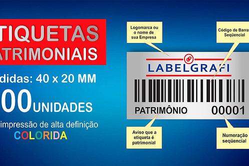 Etiquetas Patrimoniais Impressão Color 100 Unidades 40x20mm