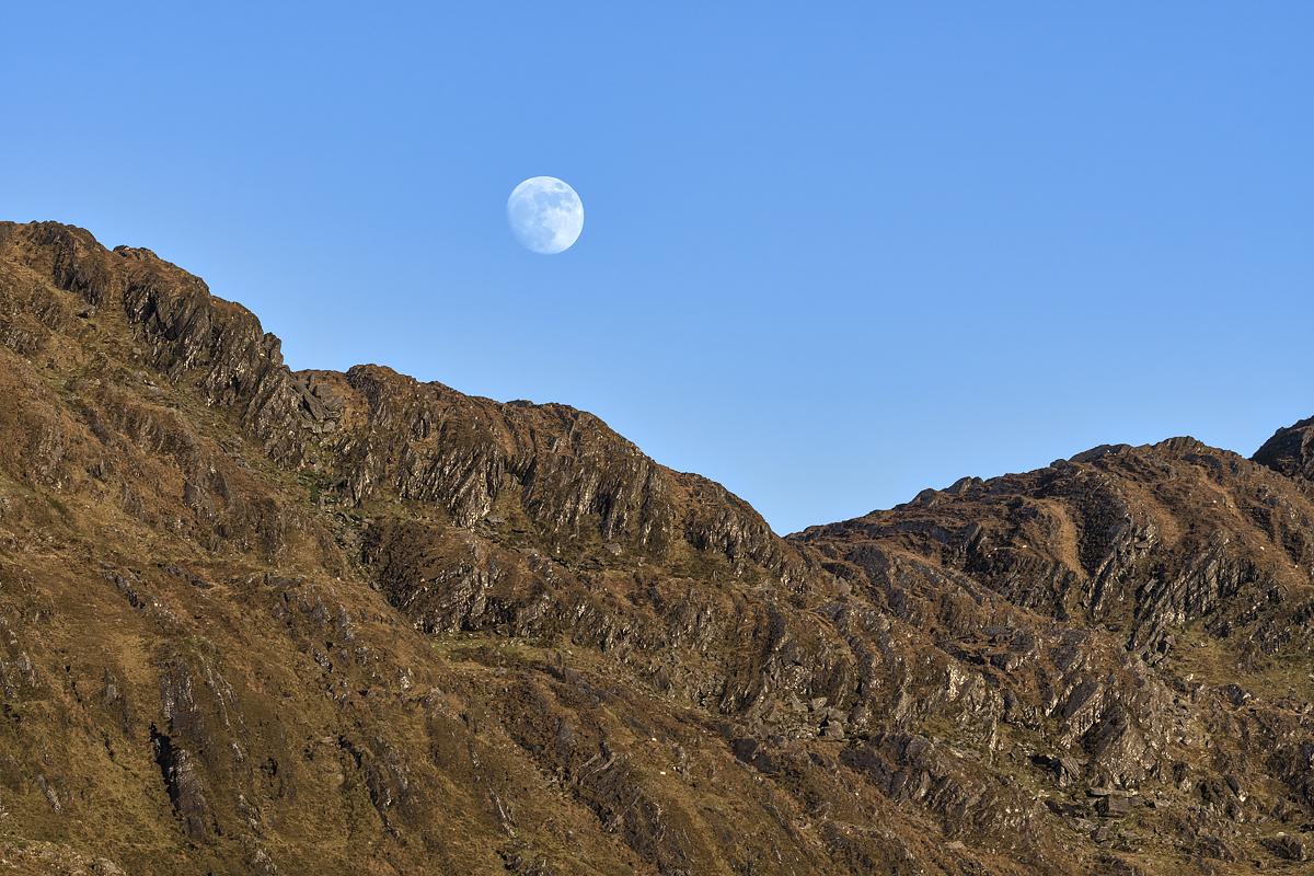 Moon over Slieve Miskish Mountains, County Cork