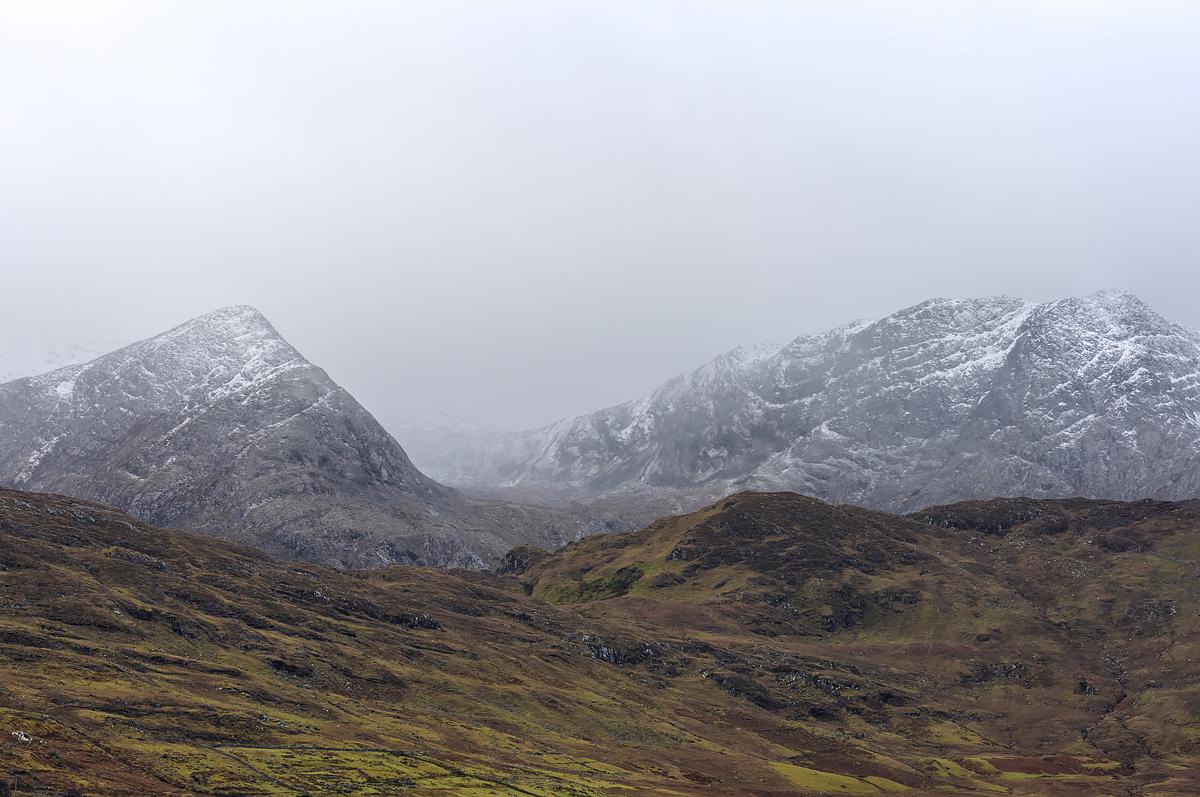 Maumturk Mountains in winter, Connemara