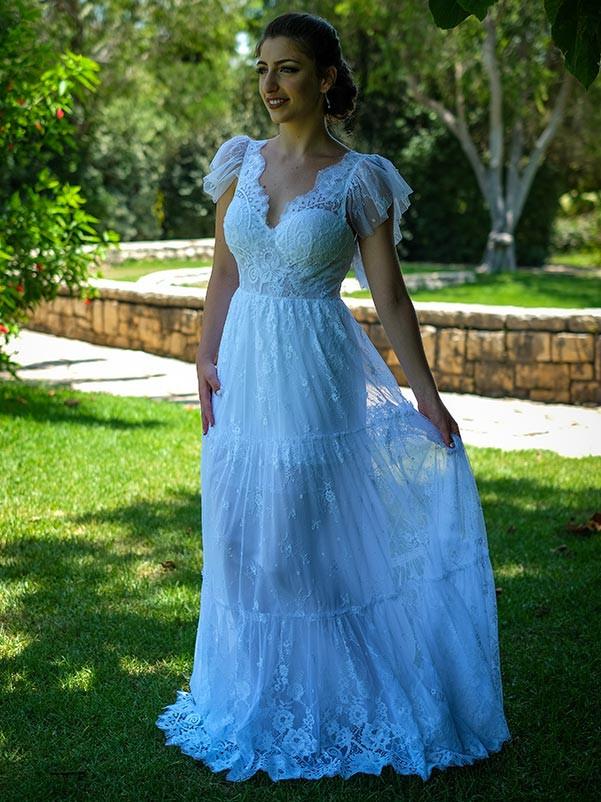 שמלת כלה בסגנון צ'רלסטון מתחרה עדינה חצי שקופה