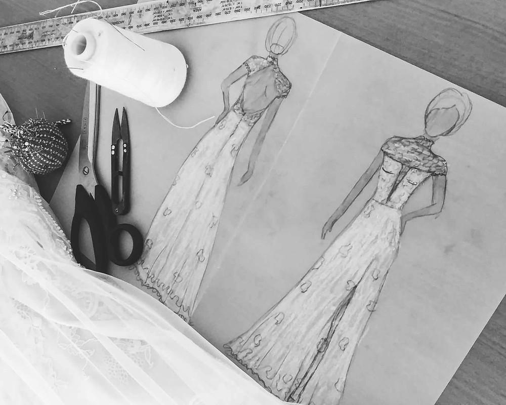 שרטוט שמלת כלה