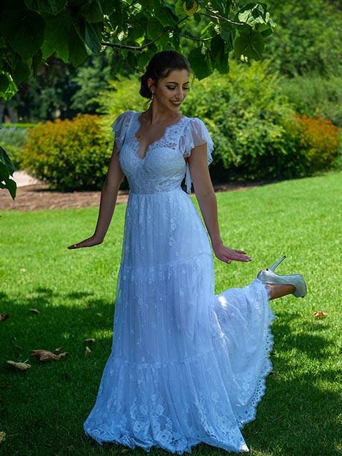 שמלת כלה בסגנון צ'רלסטון מבד תחרה חצי שקוף
