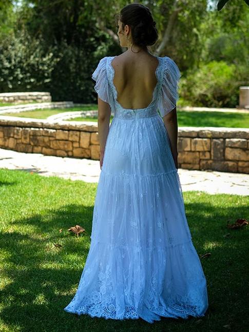 שמלת כלה בסגנון צ'רלסטון מתחרה עדינה חצי שקופה וגב פתוח