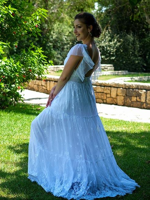 שמלת כלה בסגנון צ'רלסטון מבד תחרה חצי שקוף וגב פתוח