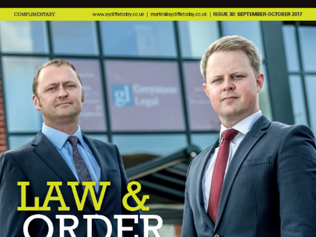 Greystone Legal feature in Aycliffe Today Business magazine