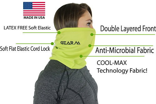 Neck Gaiter With COOL-MAX Technology& Anti-Microbial, LATEX FREE, Adjustable