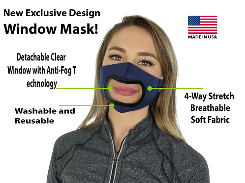 Window Mask, See Through Mask with Anti-Fog Detachable Front Window!