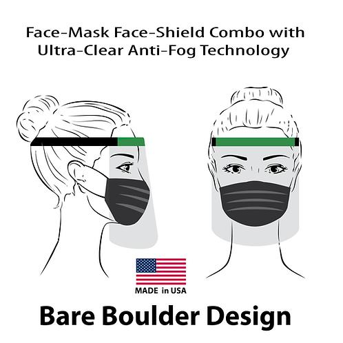 Anti Fog face shield ultra clear face mask combo