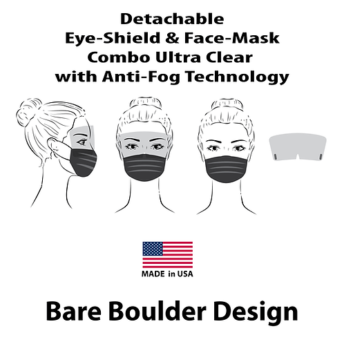 Face-Mask with Detachable Eye-Shield Anti-Fog Ultra-Clear Combo