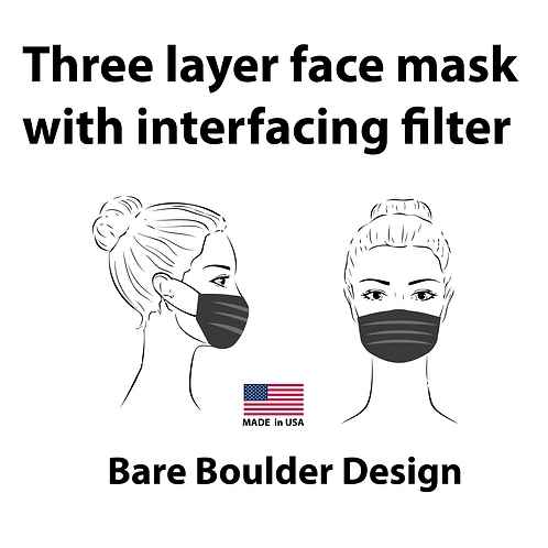 Three layer face mask with interfacing filter