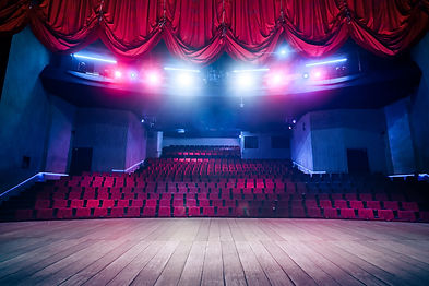 Theater curtain and stage with dramatic