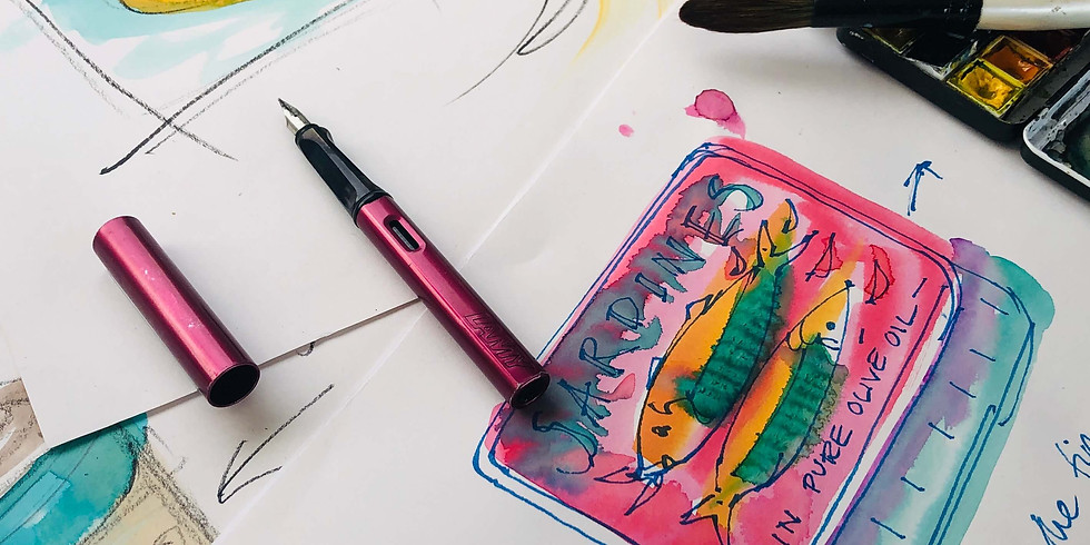 Pen and Wash, fast and fun - tins of sardines! Live online lesson