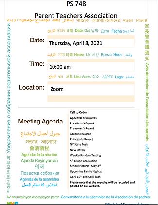 April PTA Meeting Agenda