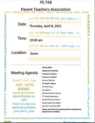 Tursday, April 8, 2021 PTA Meeting Agenda