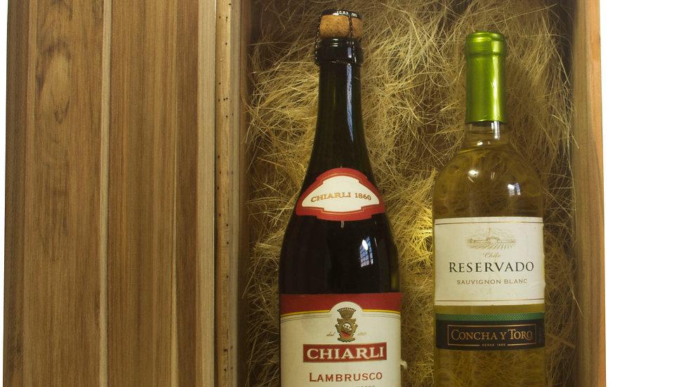 Caixa de Vinho para 02 Garrafas emTeca.