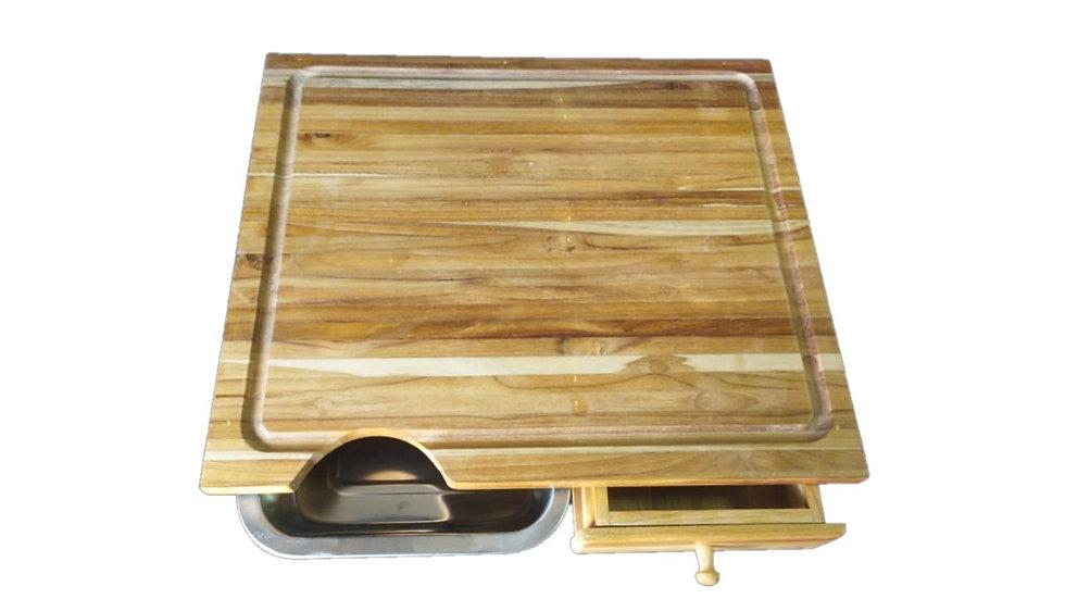 Tabua para churrasco em Teca com Gavetas 50x55x8 cm.