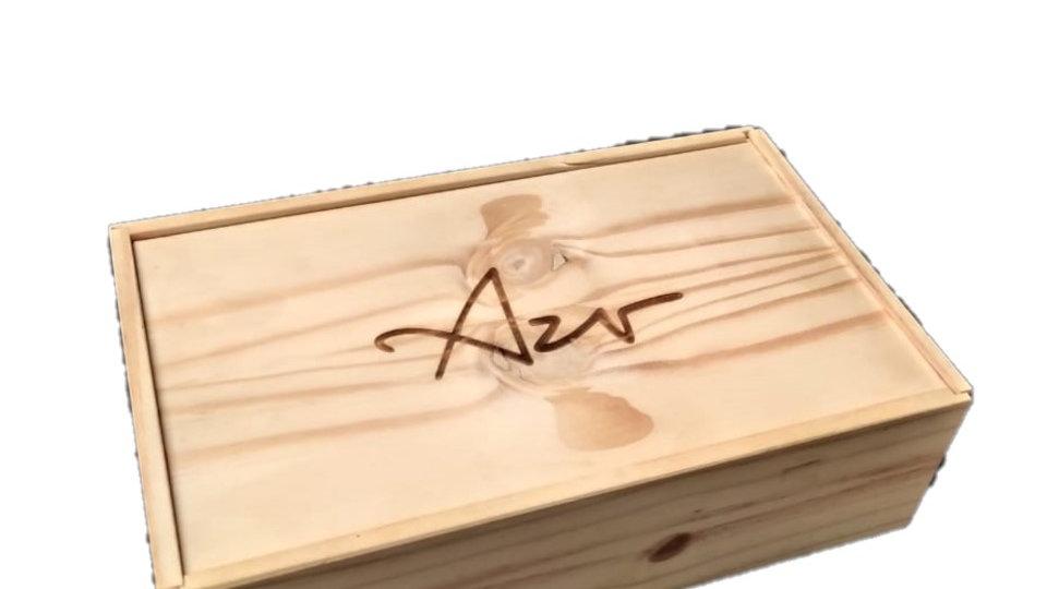 Caixa de Vinho para 02 Garrafas em Pinus