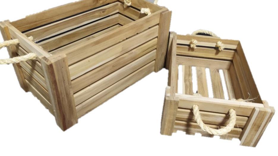 Box em Teca com Alça de Corda 30x22x12,