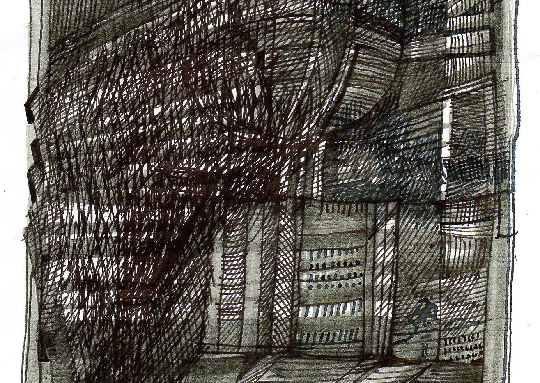 Feder-/Pinselzeichnung Weinberge