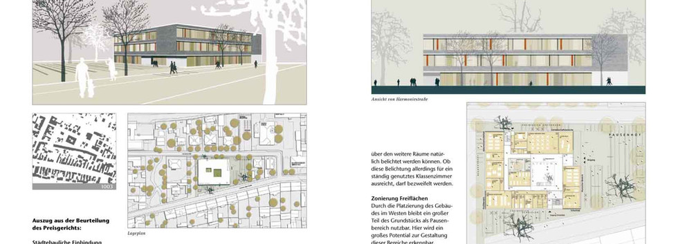 Wettbewerbsbroschüre, Inhaltsseite Dokumentation der Preisträger und Wettbewerbsteilnehmer  eines Architekturwettbewerbes