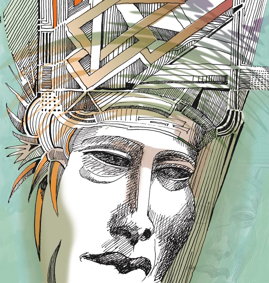 Digital-Collage Köpfe aus dem Kopf