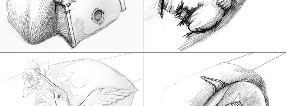 """Entwurfsskizzen für Gussdetails Grafische Darstellung von Gestaltungsdetails an den jeweilgen """"Datenbänken"""" zur Präsentation der Städtepartnerschaften"""