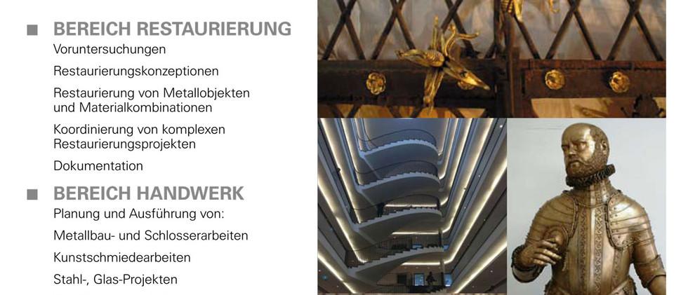 Flyer Firma Ostmann und Hempel, Restaurierung und Metallbau