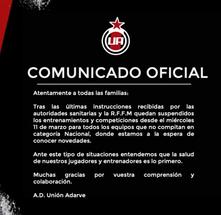 Suspendidos los entrenamientos y la competición por el COVID 19.