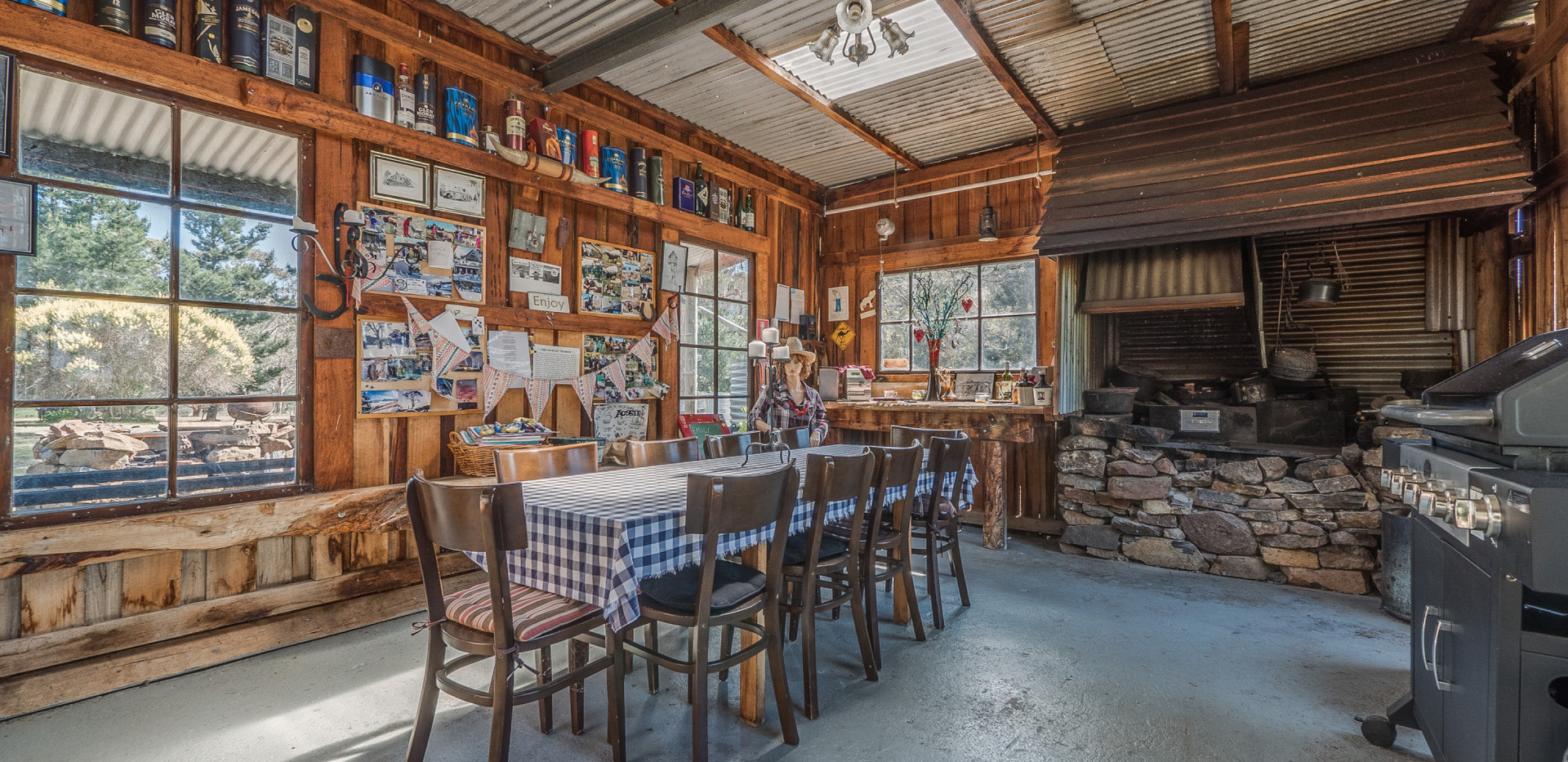 Interior of rustic BBQ hut