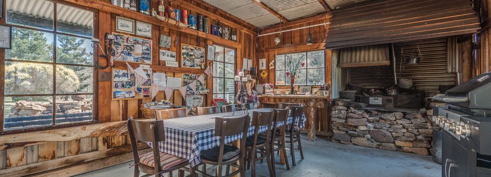 Interior of rustic BBQ hut